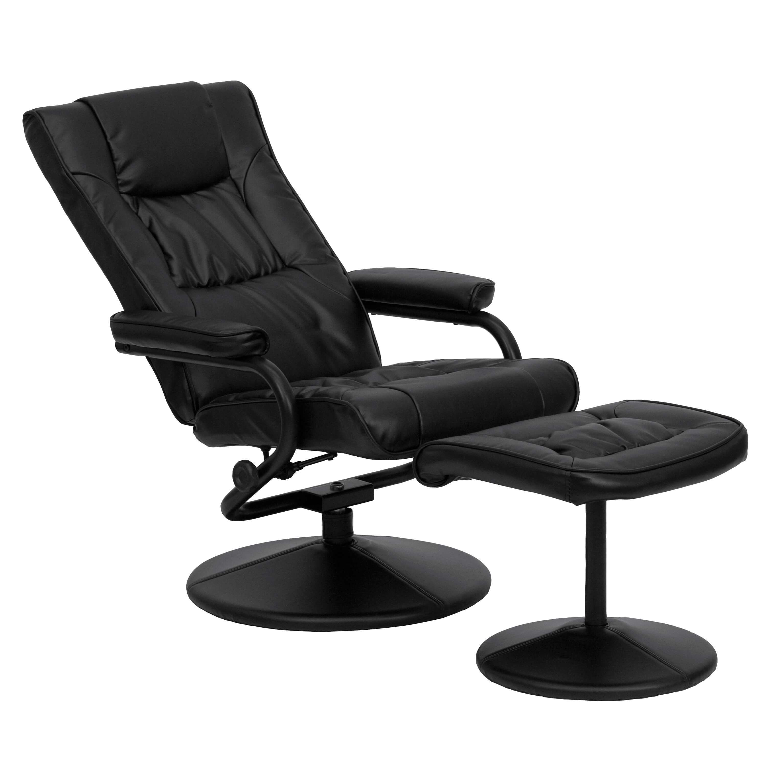Contemporary recliner with ottoman reclined view