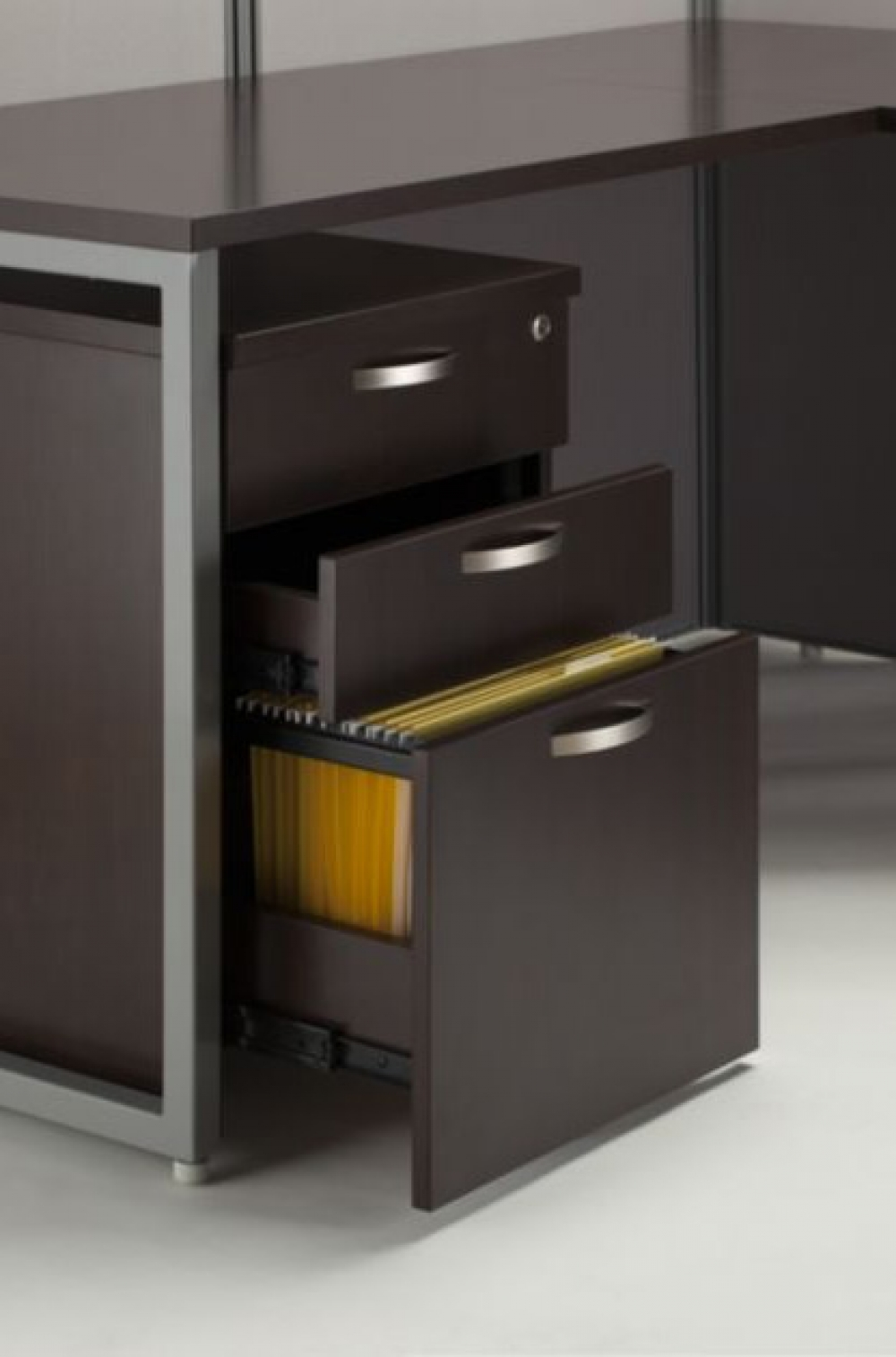 Cubicle Desk Filing Drawers Open