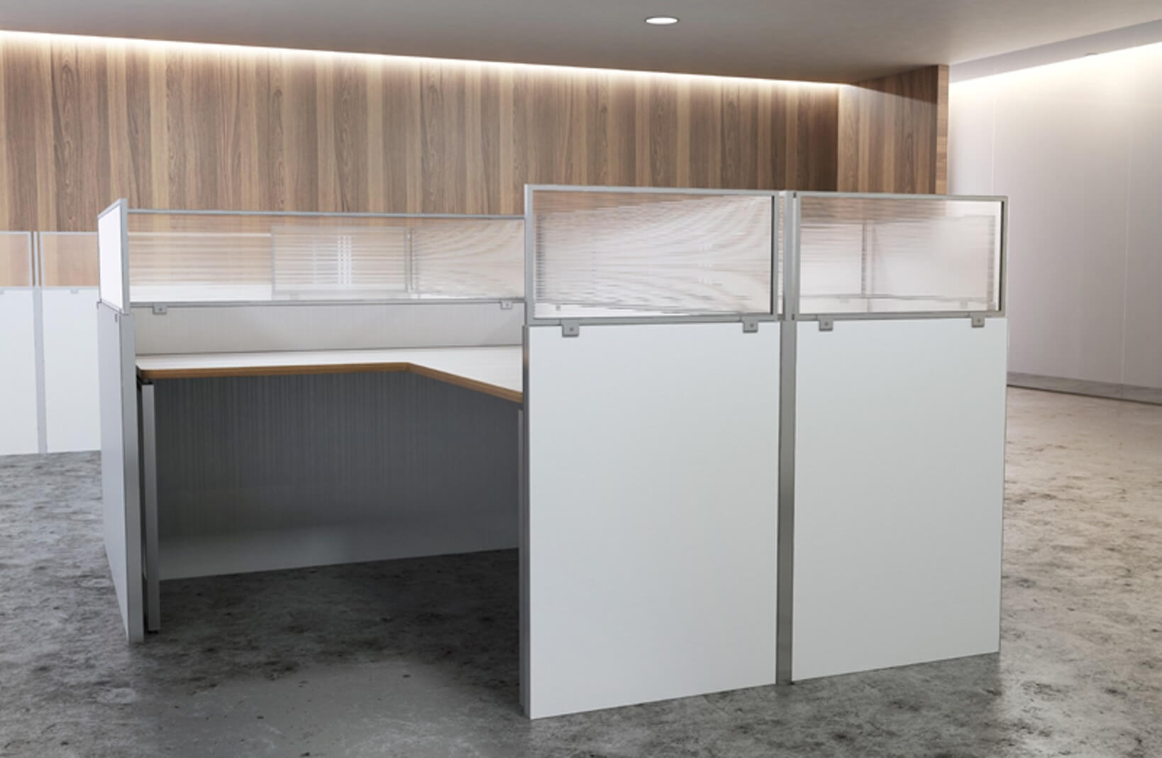 Cubicle wall extender environmental sideview