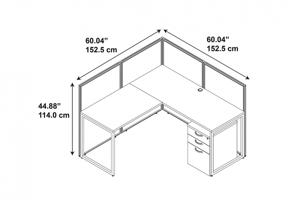 60x60 L Shape Cubicle Workstation With Storage
