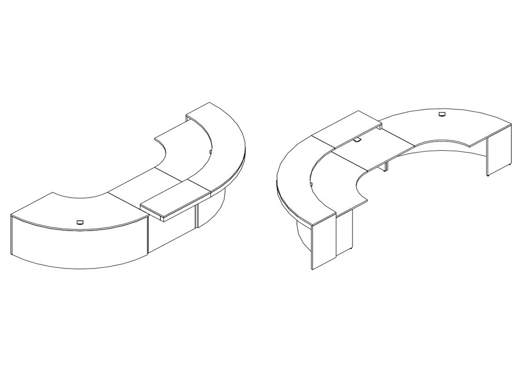 Curved reception desk spheric 3d schematic 1
