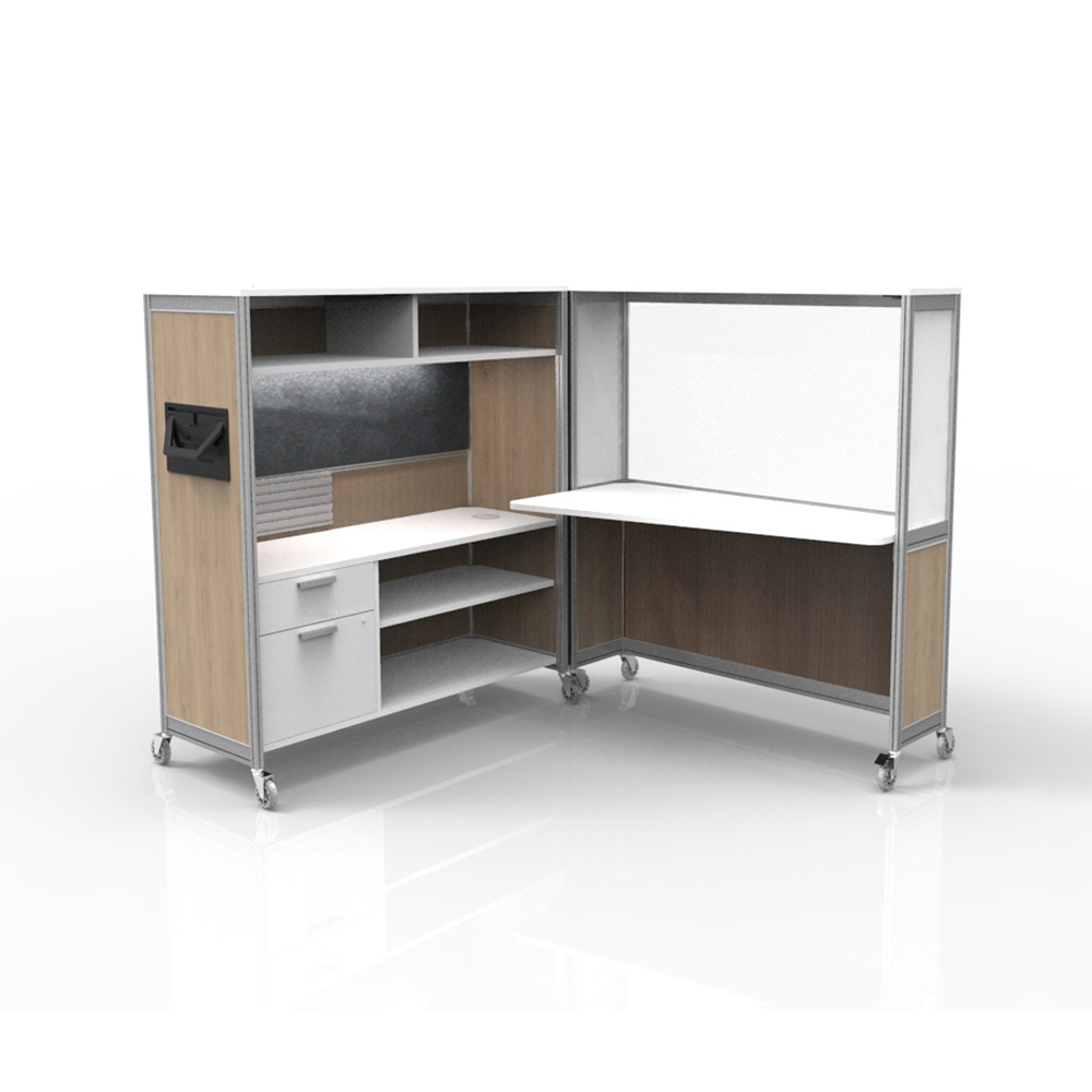 Desk on wheels ginger clear charcoal