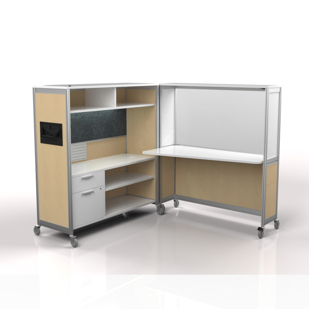 Desk on wheels hardrock maple frosted charcoal