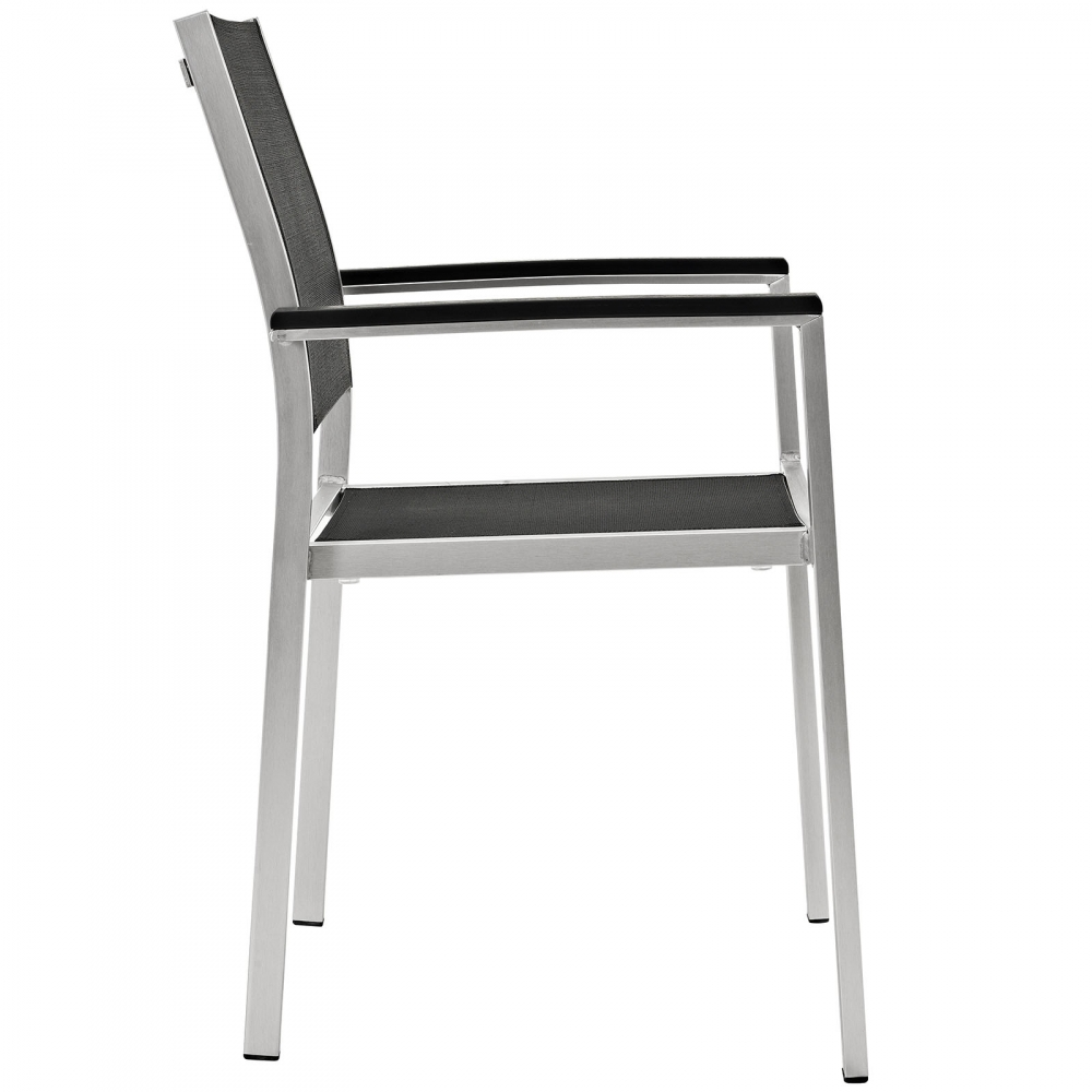 Dining chairs with metal legs side view