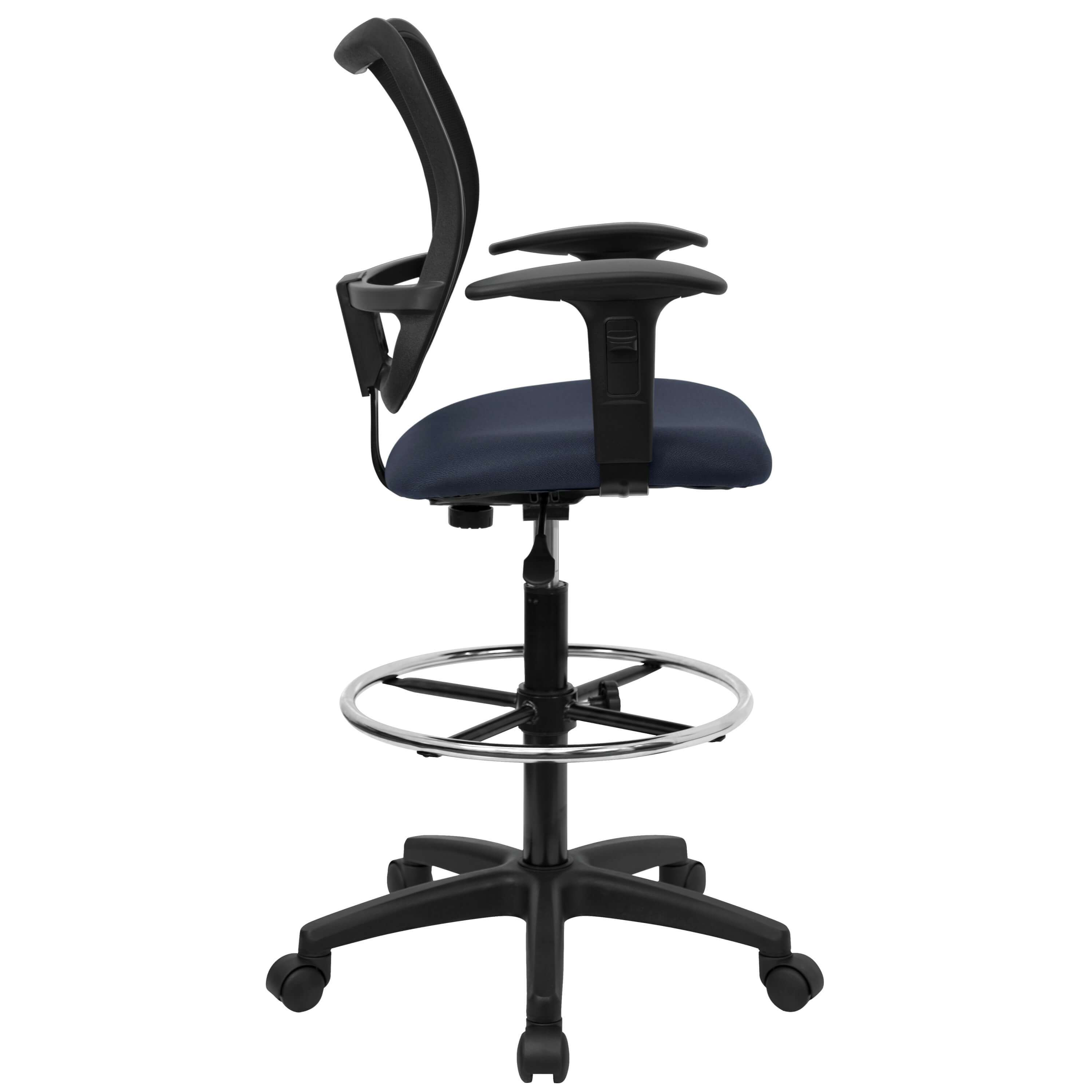 Drafting office chair side view