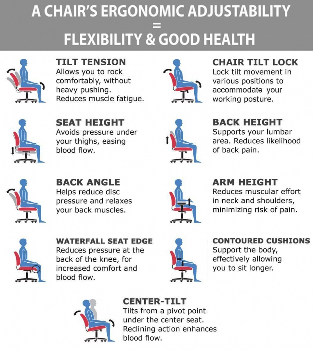 Fabric office chairs ergonomic features