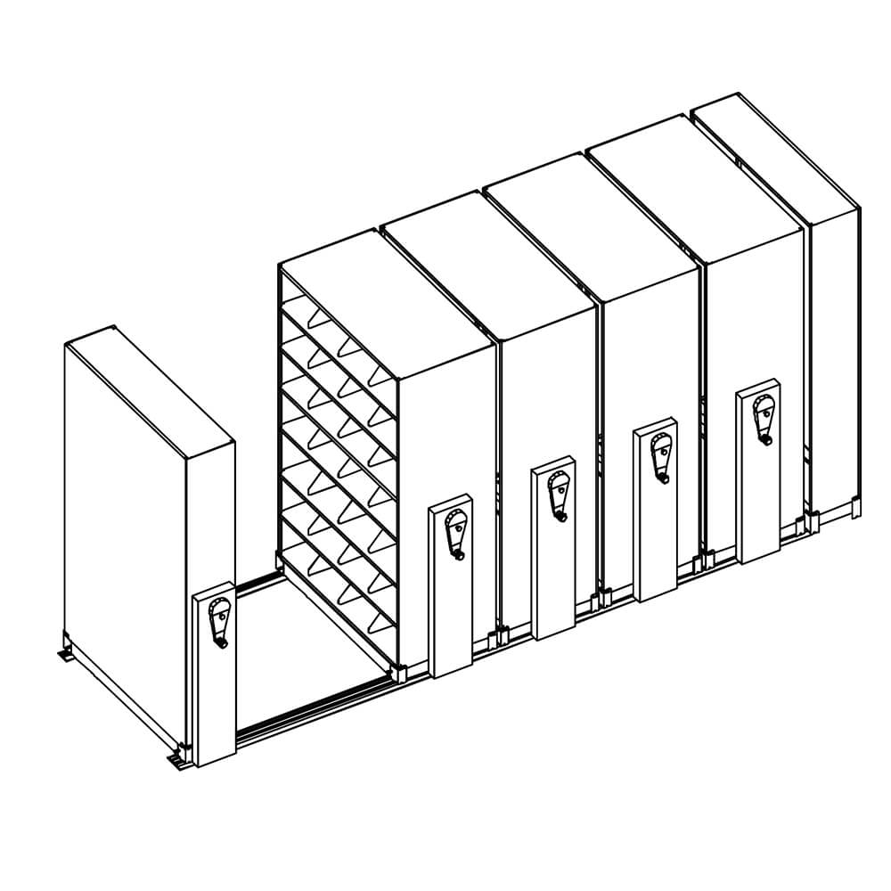 Filing system for office mobile shelving units