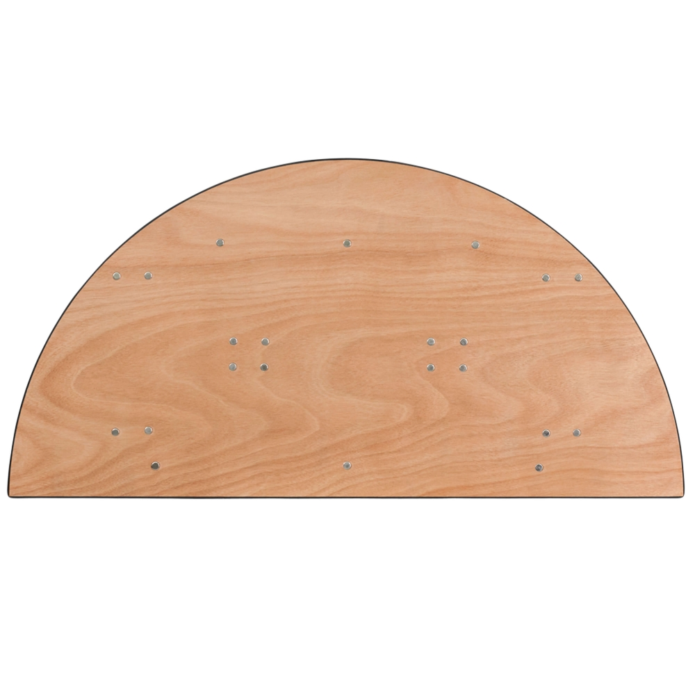 Half round folding table top view