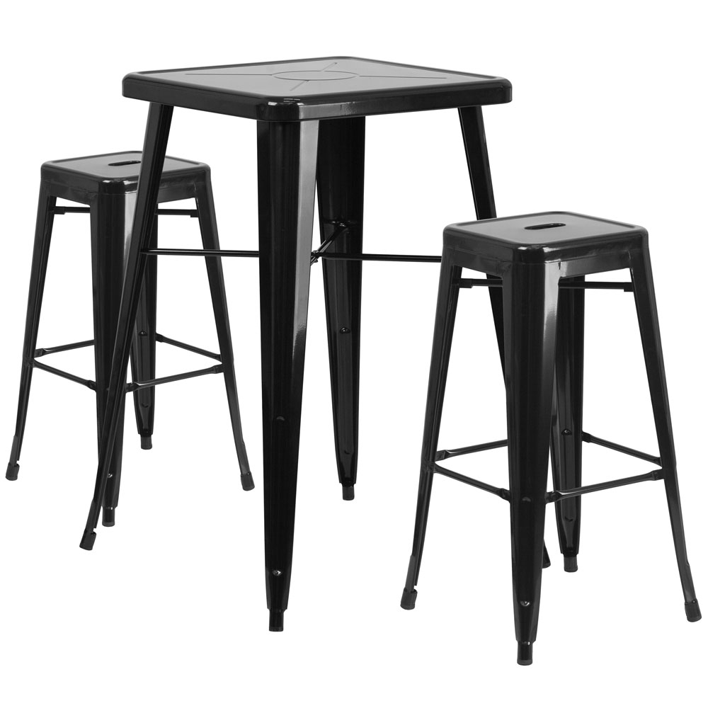 High top table set CUB CH 31330B 2 30SQ BK GG FLA