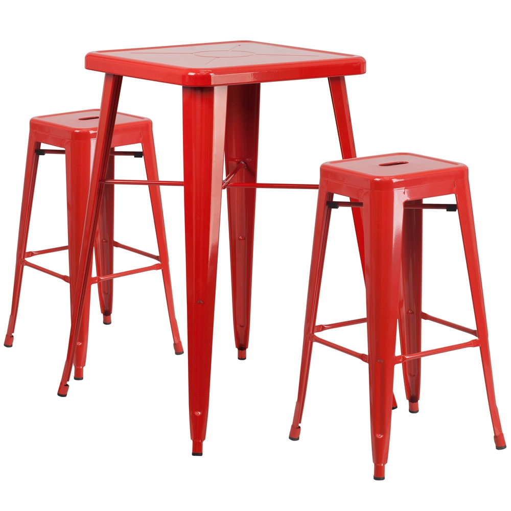High top table set CUB CH 31330B 2 30SQ RED GG FLA