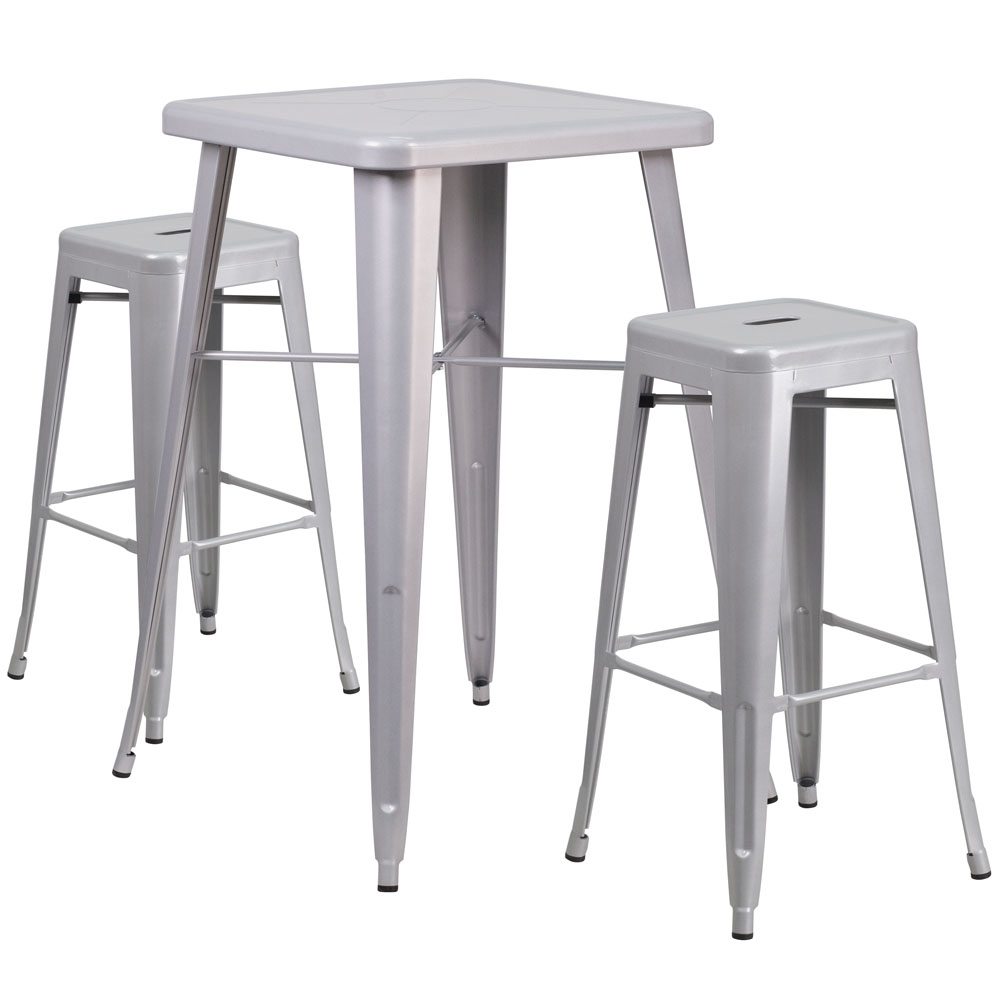 High top table set CUB CH 31330B 2 30SQ SIL GG FLA