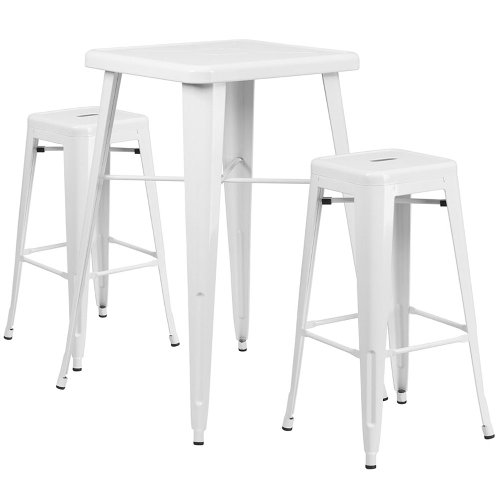 High top table set CUB CH 31330B 2 30SQ WH GG FLA