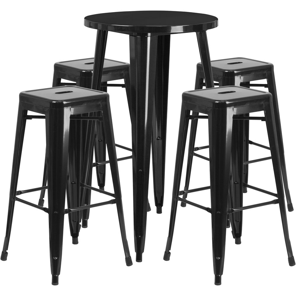High top table set CUB CH 51080BH 4 30SQST BK GG FLA