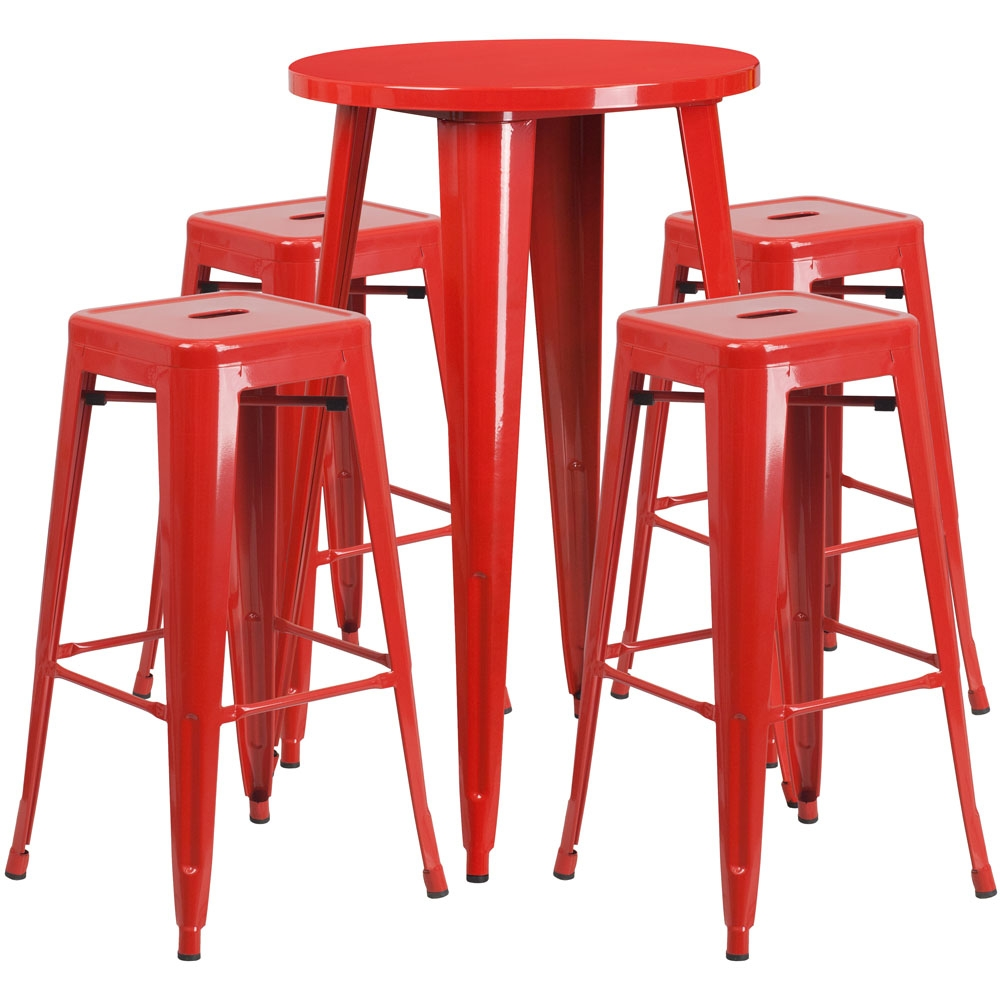 High top table set CUB CH 51080BH 4 30SQST RED GG FLA