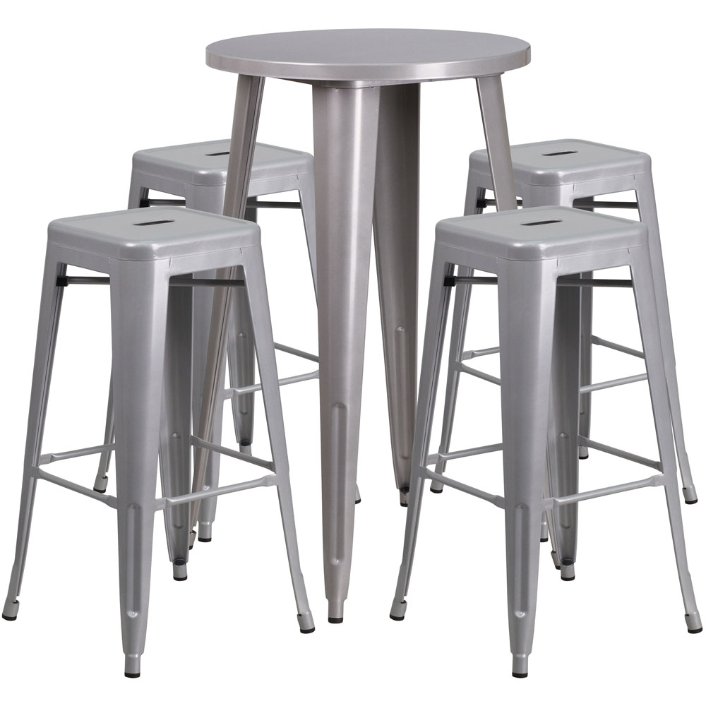 High top table set CUB CH 51080BH 4 30SQST SIL GG FLA