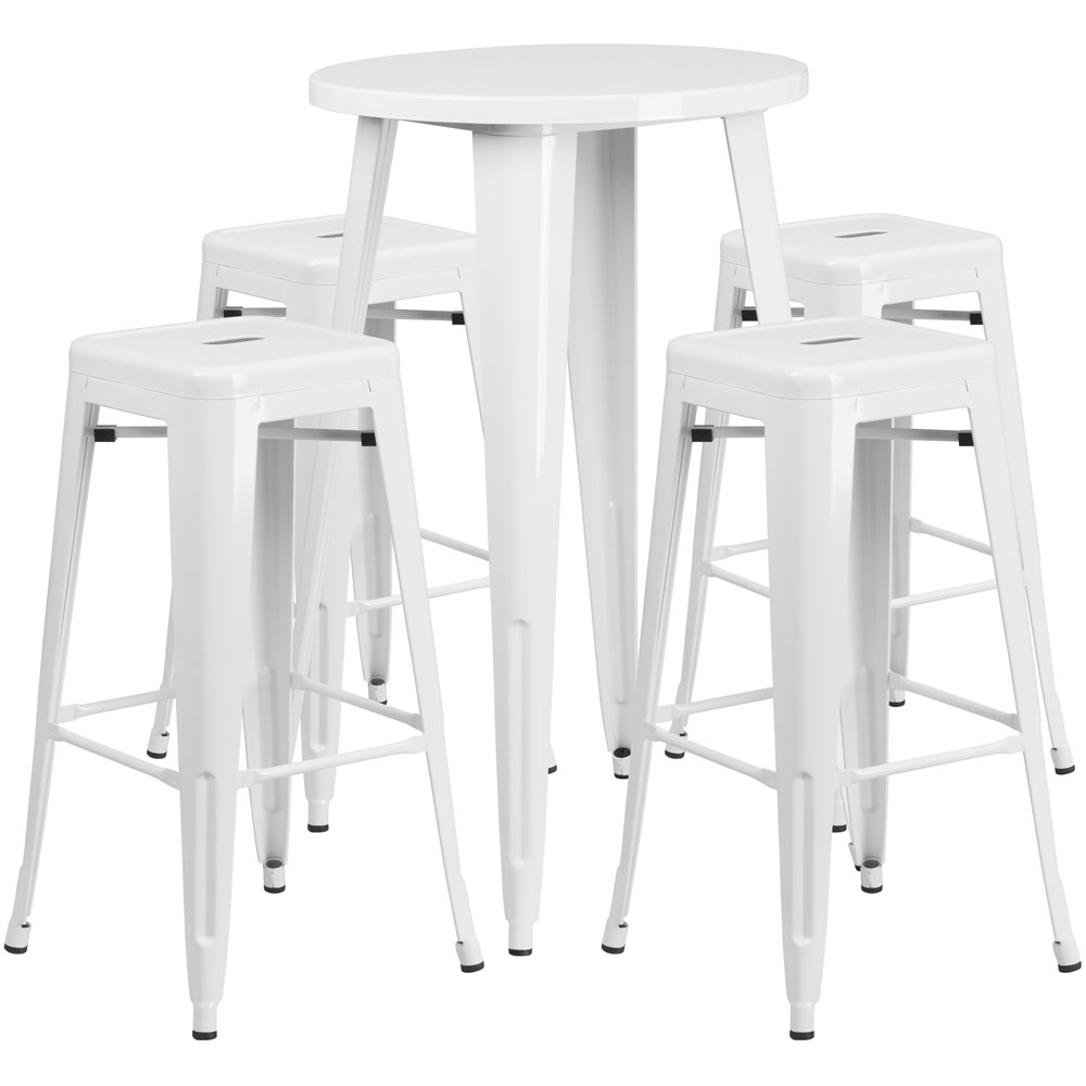High top table set CUB CH 51080BH 4 30SQST WH GG FLA