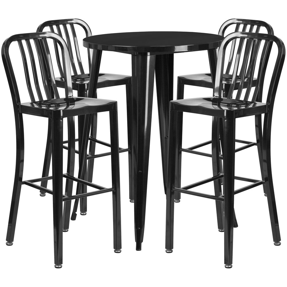 High top table set CUB CH 51090BH 4 30VRT BK GG FLA