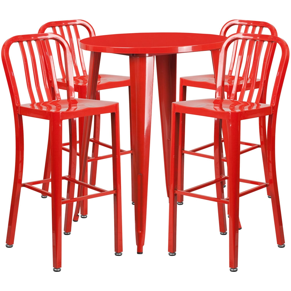 High top table set CUB CH 51090BH 4 30VRT RED GG FLA