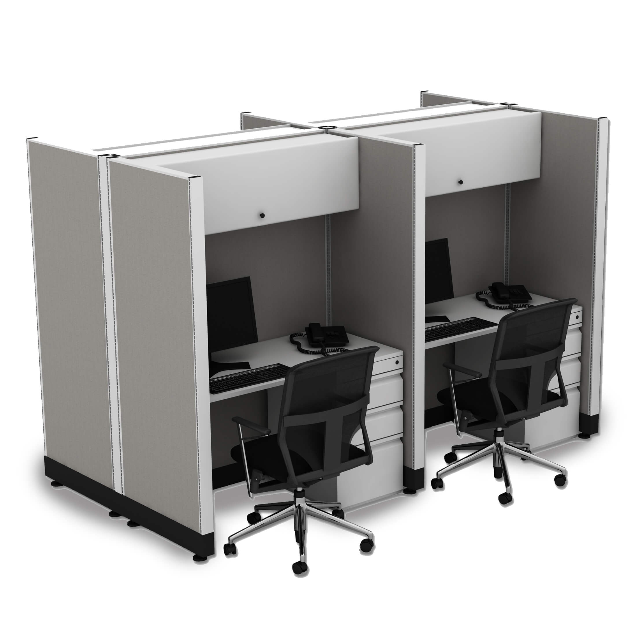 Hot desking hoteling stations 4 pack powered
