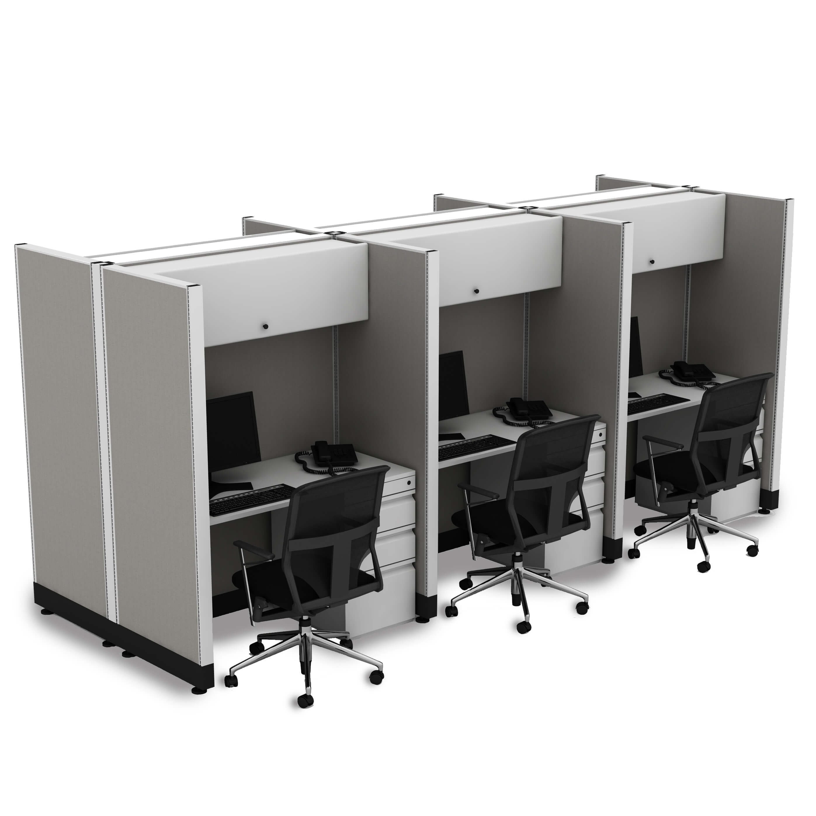 Hot desking hoteling stations 6 pack powered