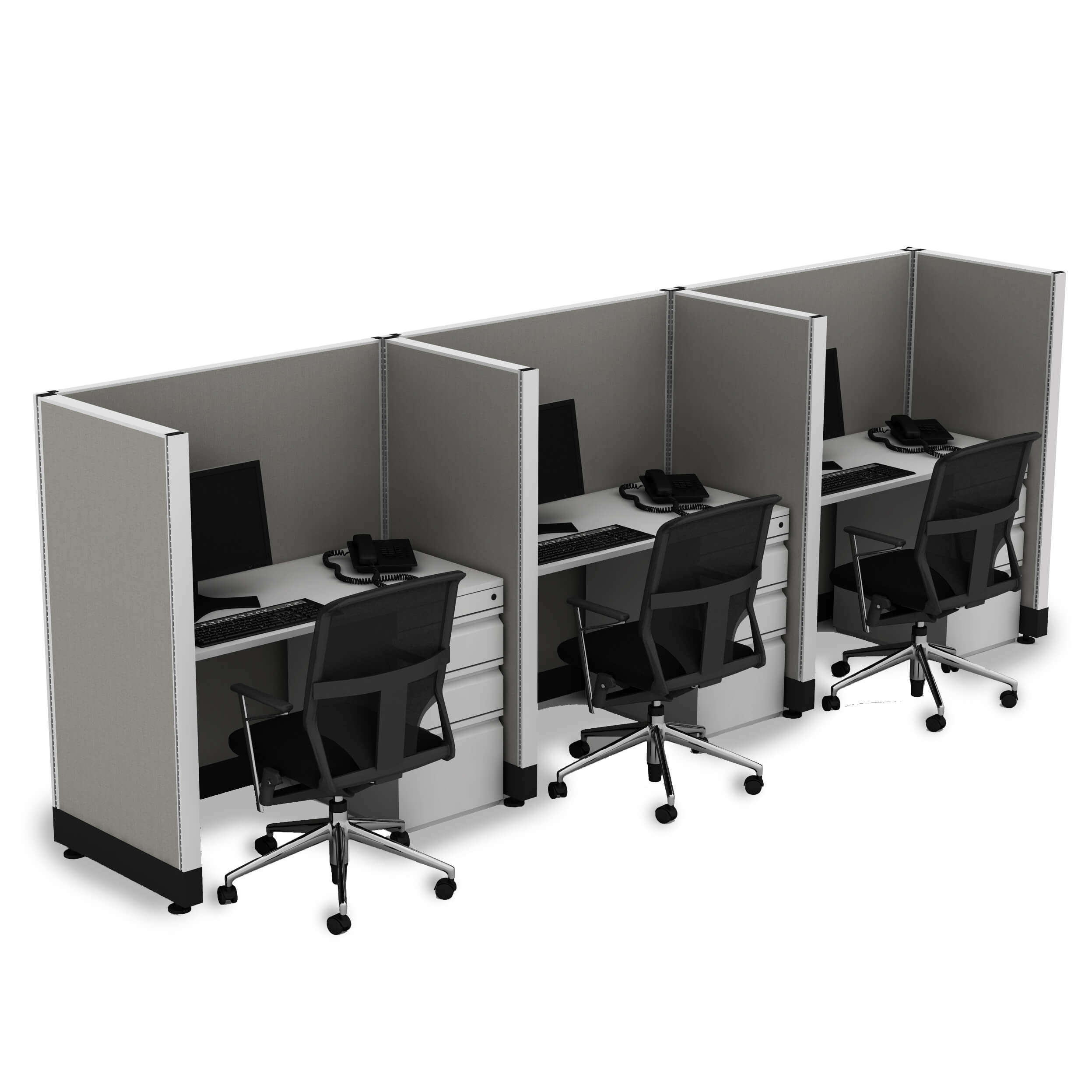 Hot desking hotelling station 3 pack powered