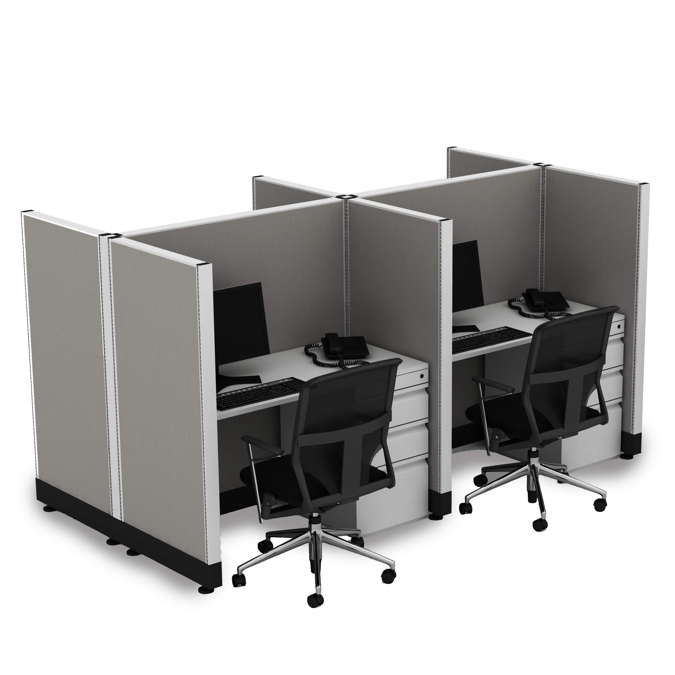 Office Hoteling 53 High Unpowered - Office Cubicle Desk 53H 4pack ...