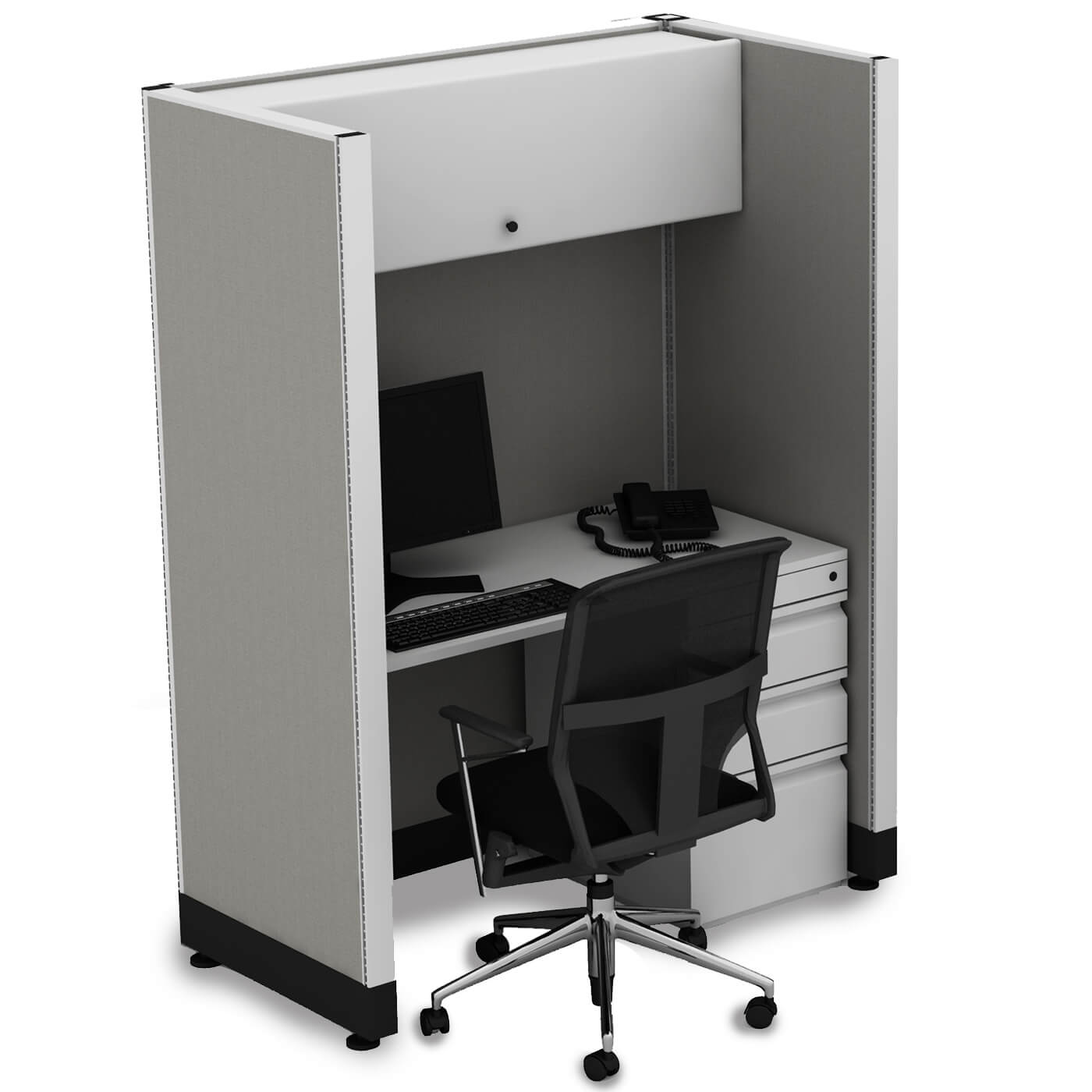 Hot desking tall cubicles single 1