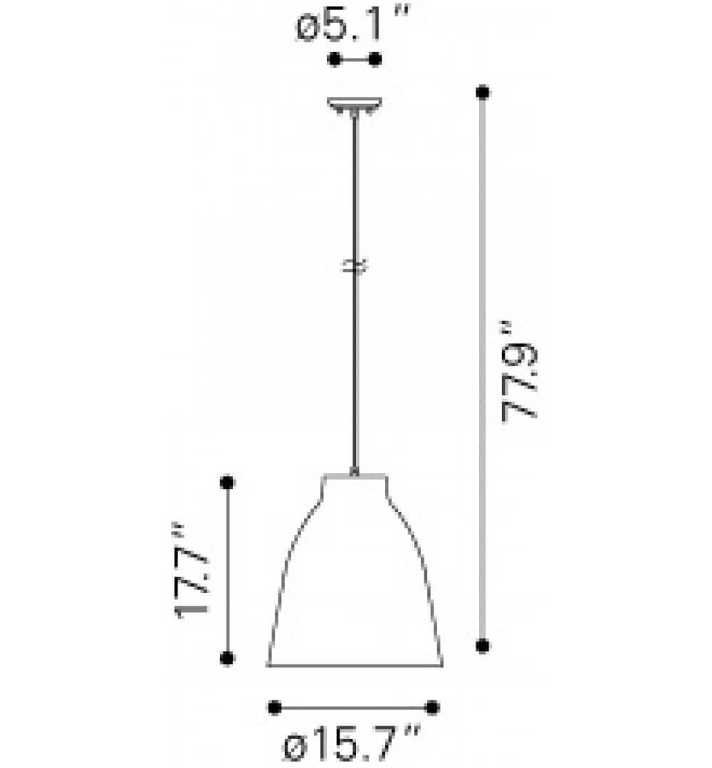 Industrial pendant light dimensions view