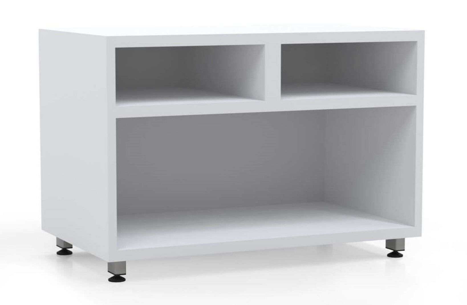 L shaped modern desk open storage container white_preview