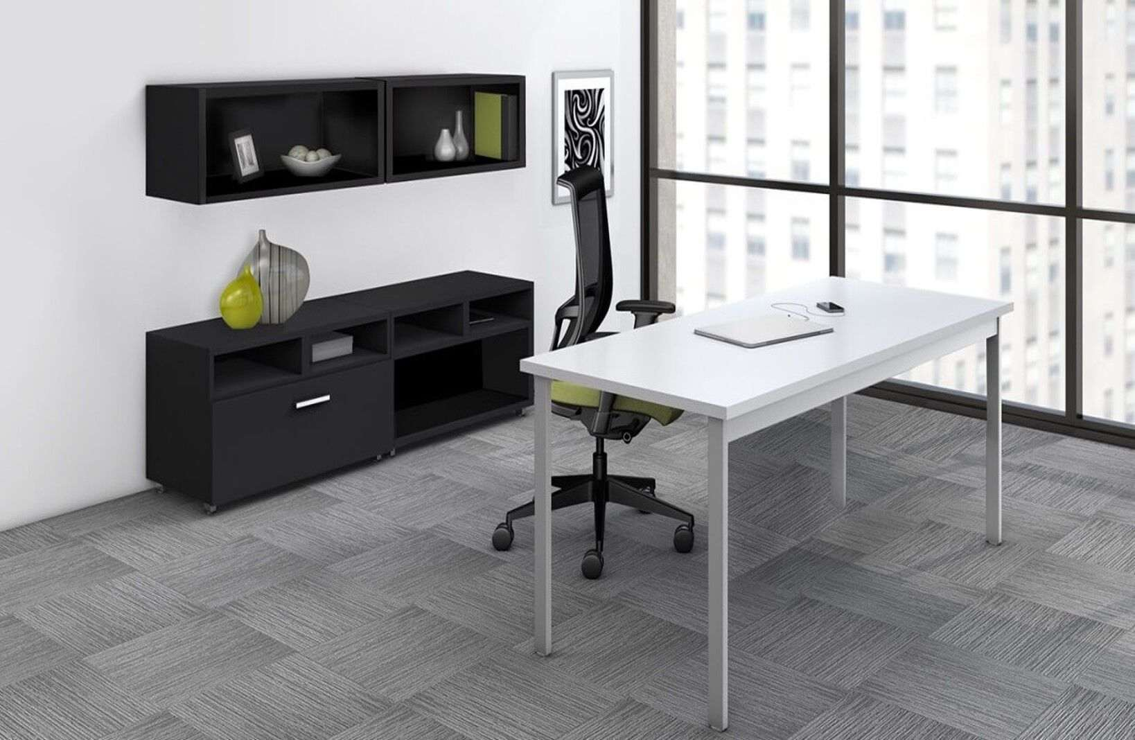 L Shaped Table Desk Environmental Front Preview