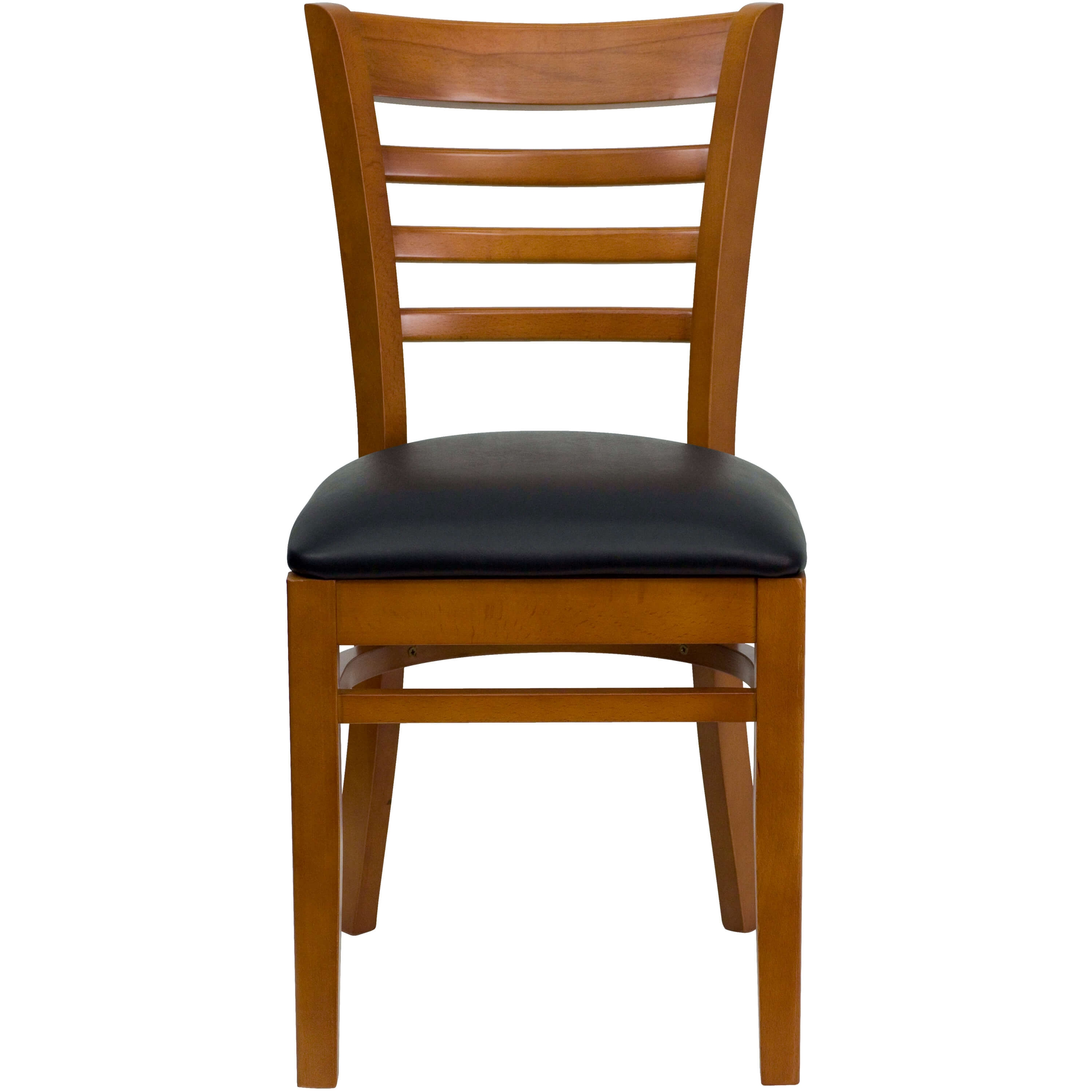 Ladder back wooden dining chair front view