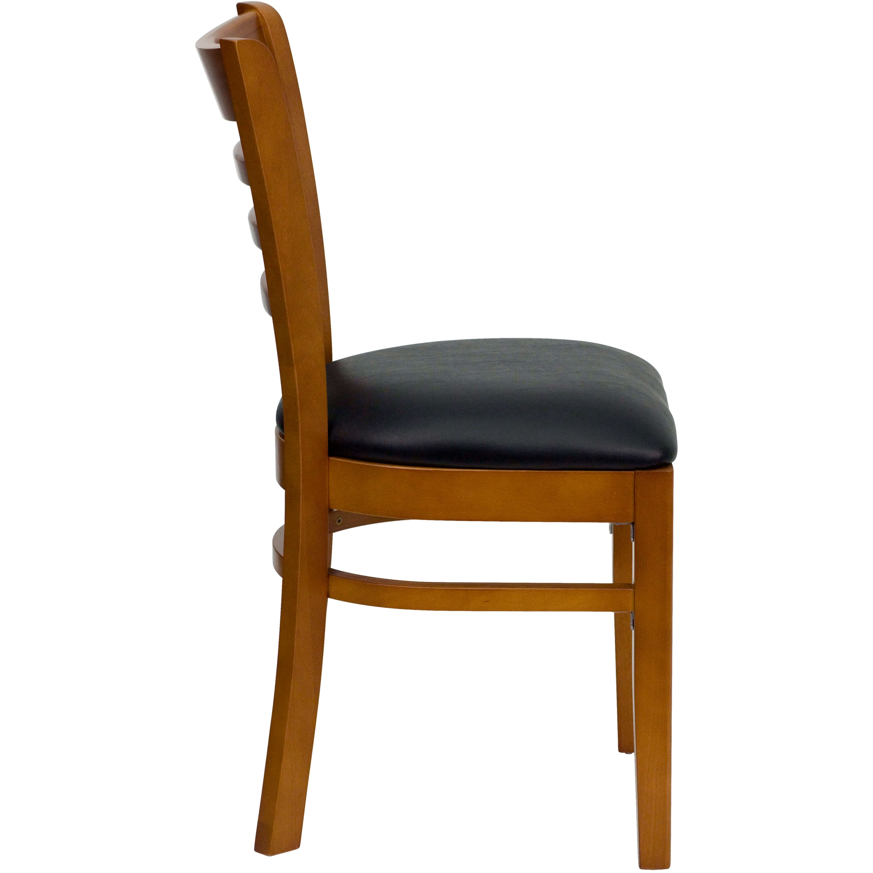 Ladder back wooden dining chair side view
