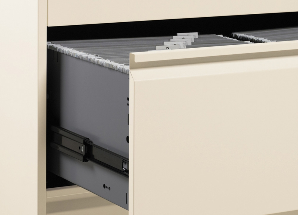 Lateral filing cabinets ball bearing suspension