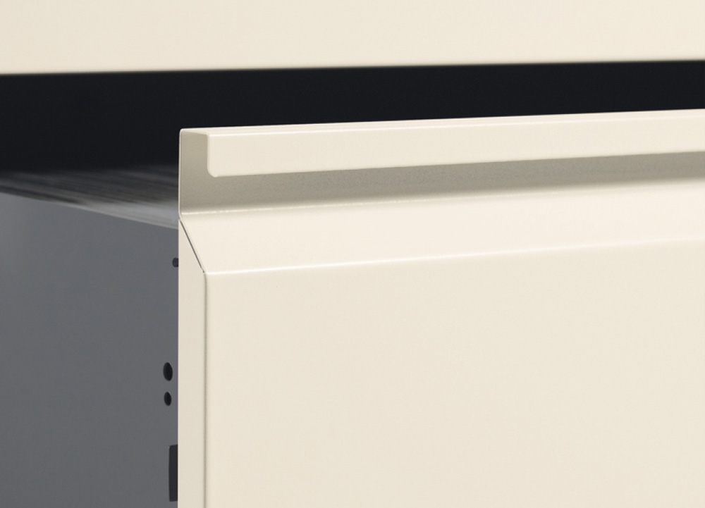 Lateral filing cabinets recessed pull