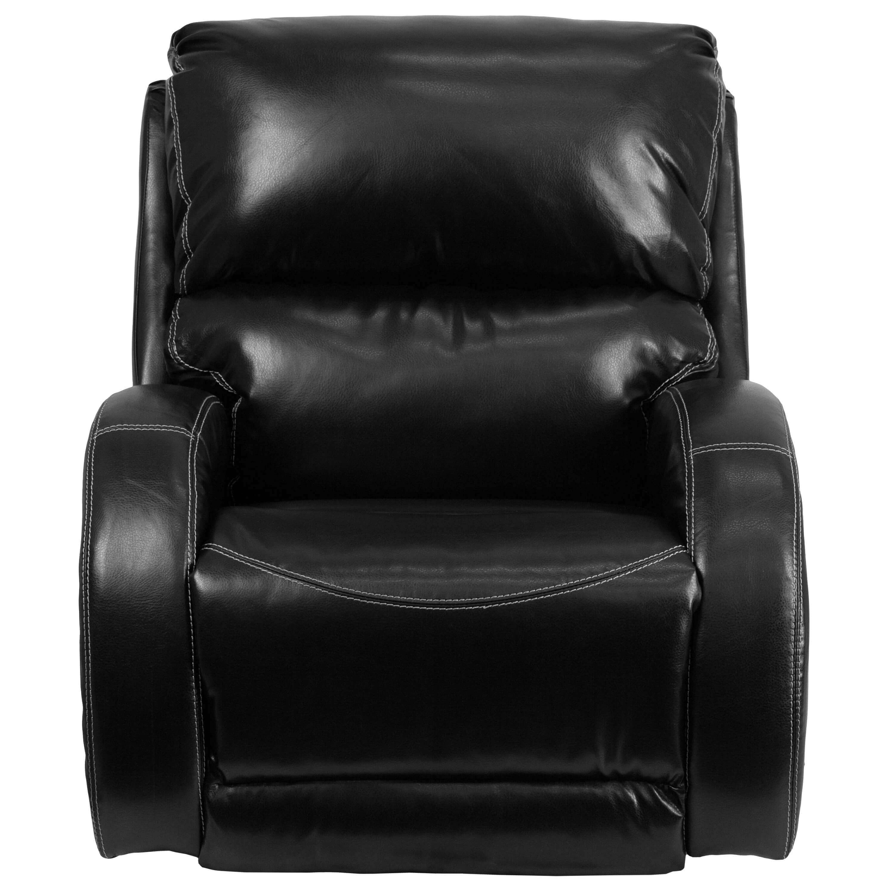 Leather rocking recliner front view