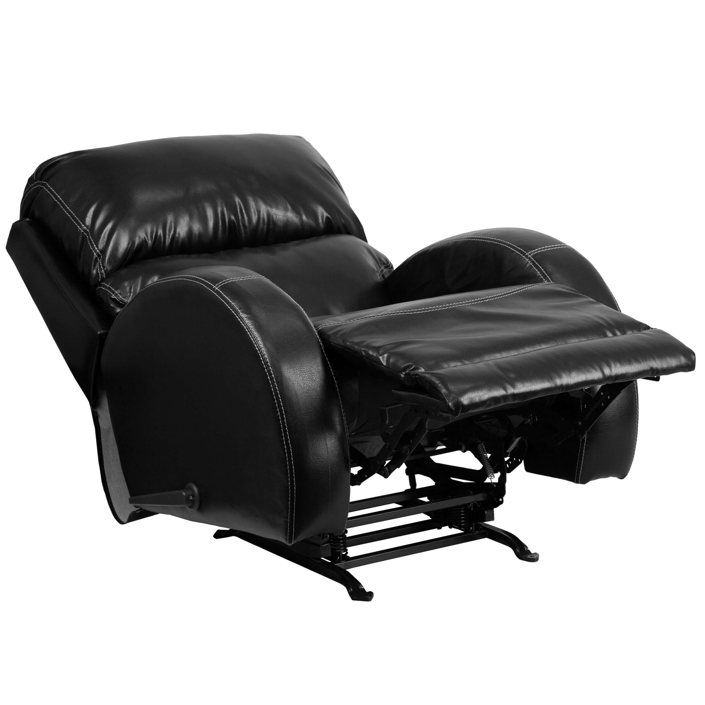 Leather rocking recliner reclined view