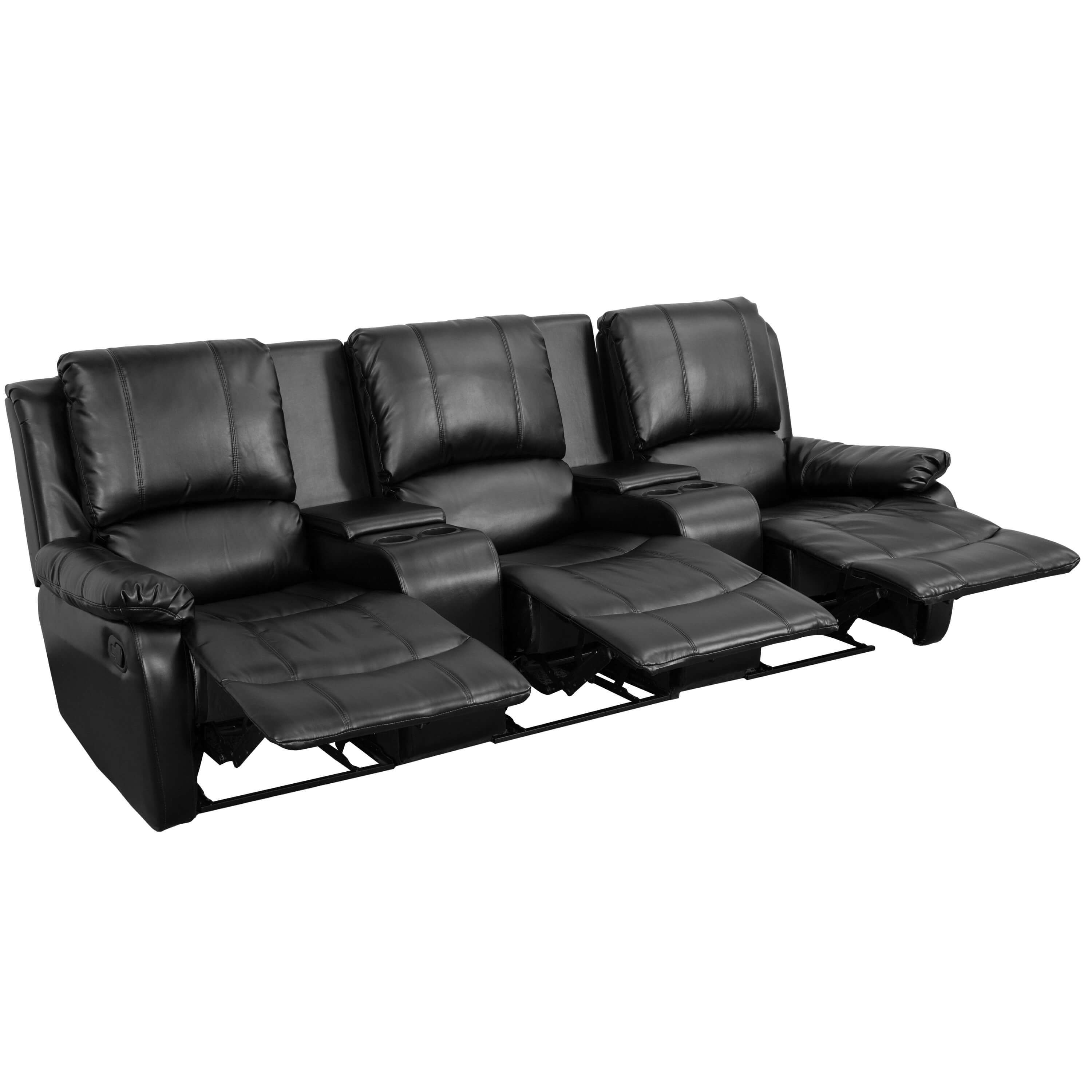 Leather theater chairs reclined view