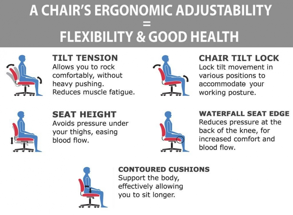 Mesh back office chair ergonomic features