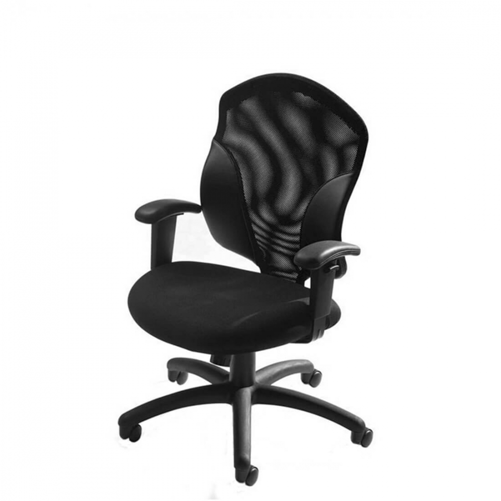 Mesh office chair side view