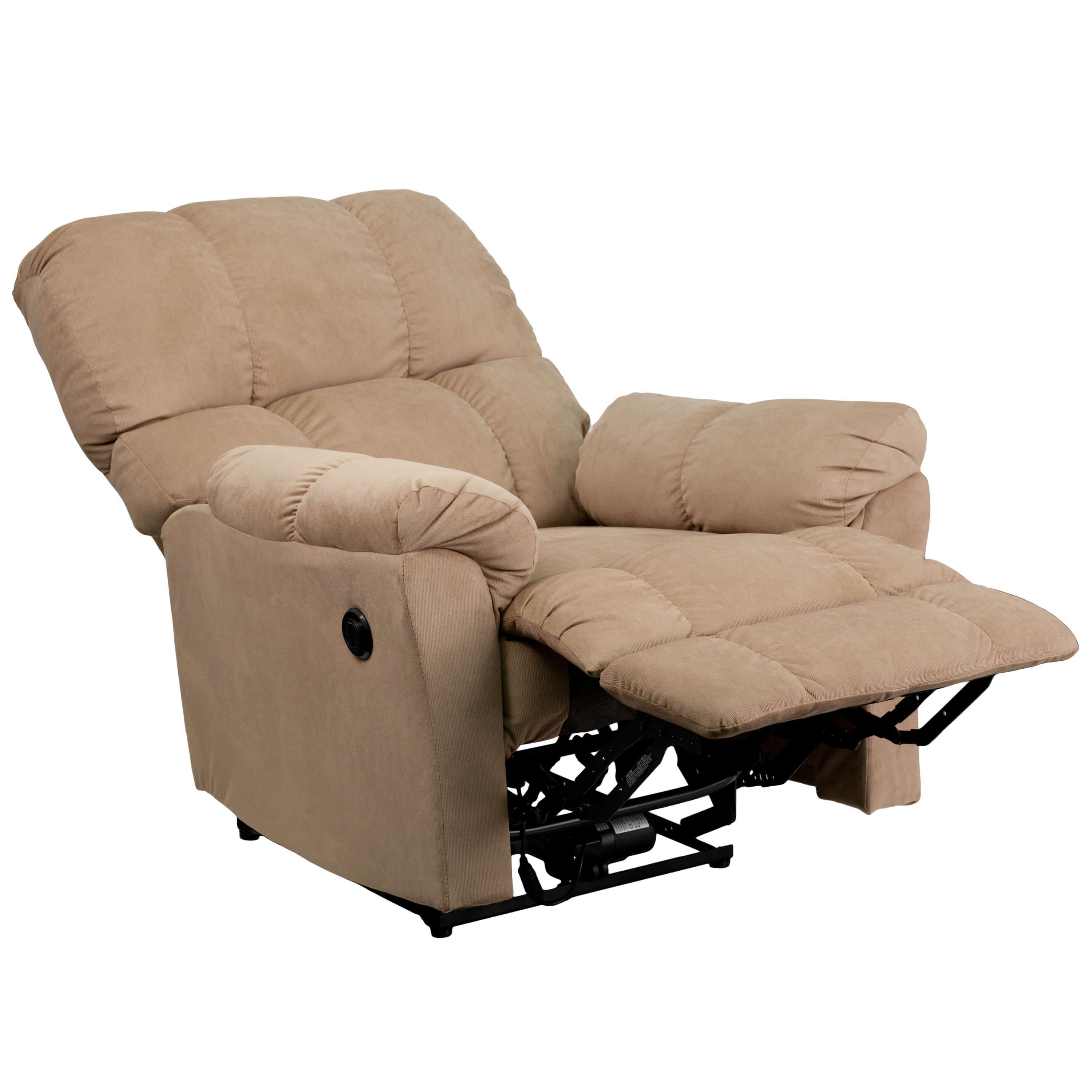 Microfiber recliner reclined view 1