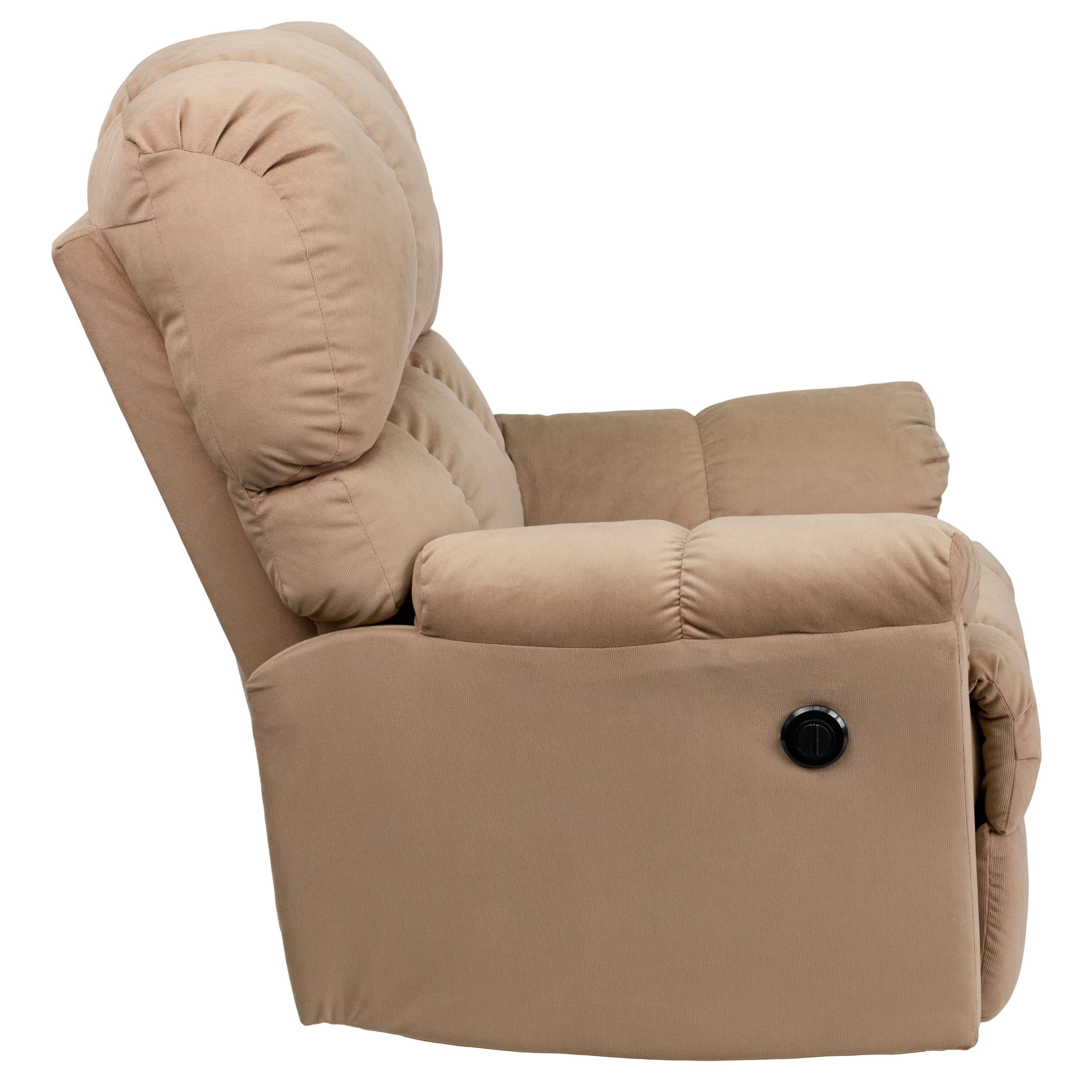 Microfiber recliner side view 1