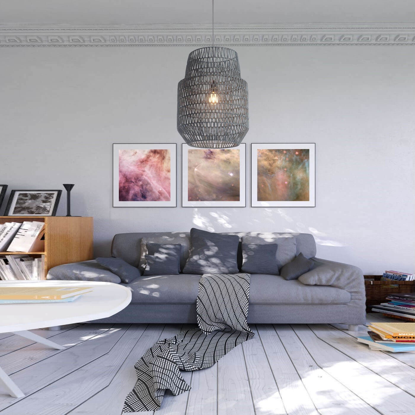 Modern hanging lights environmental view
