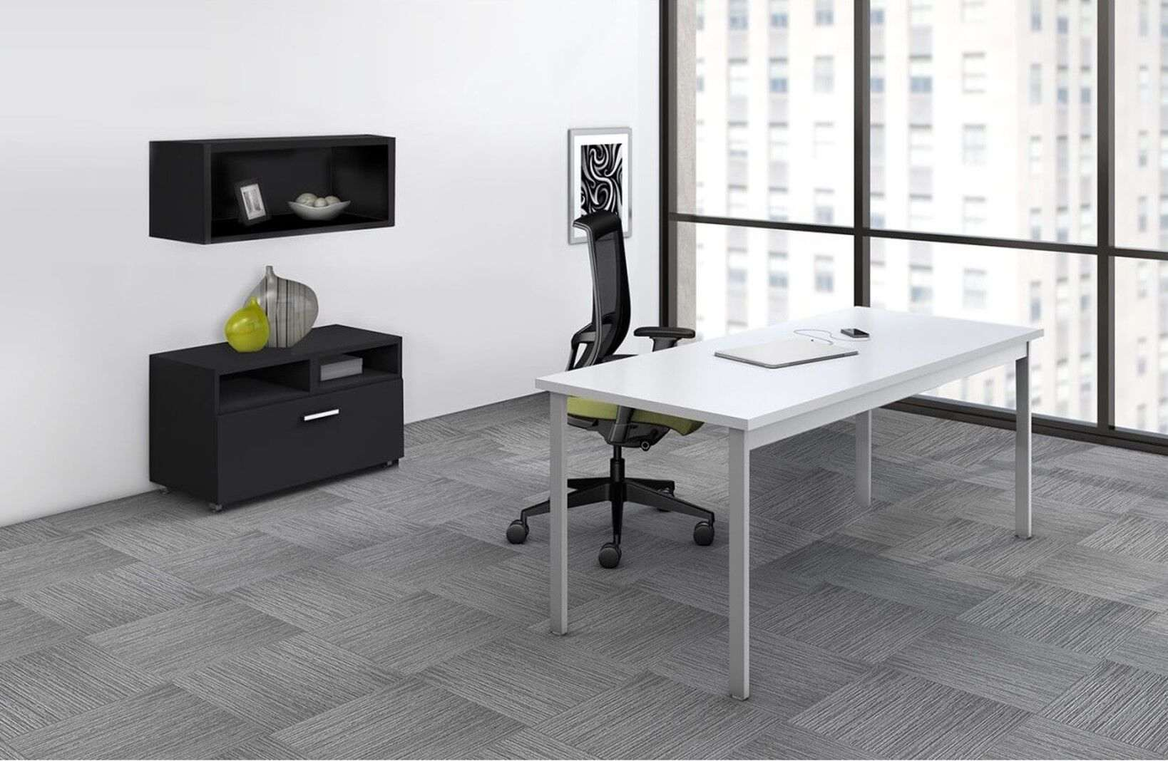 shaped l storage modern design pin and minimalist office desk