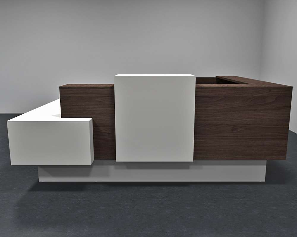 Modern office reception desk front view