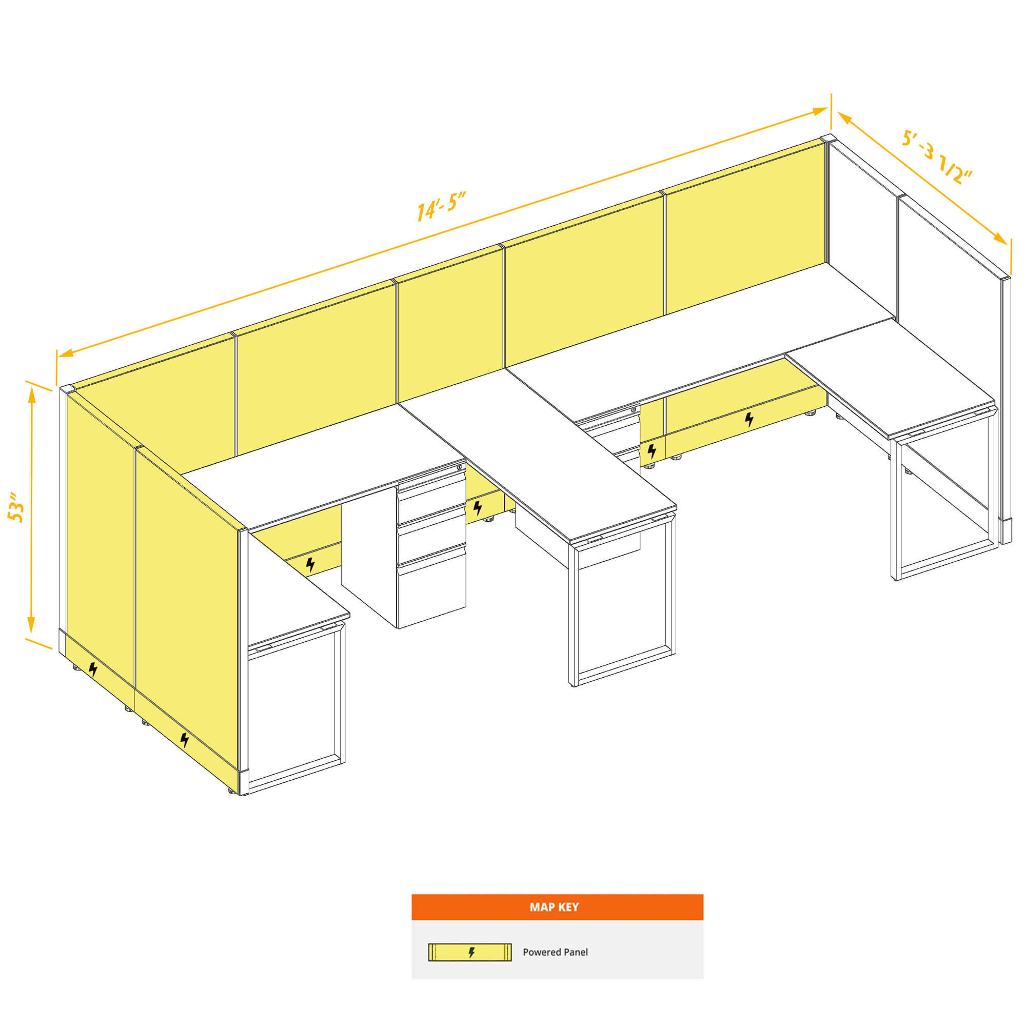 Modular Furniture 53H Powered - Commercial Office Furniture 53H 2pack  Bullpen PoweredCubicles