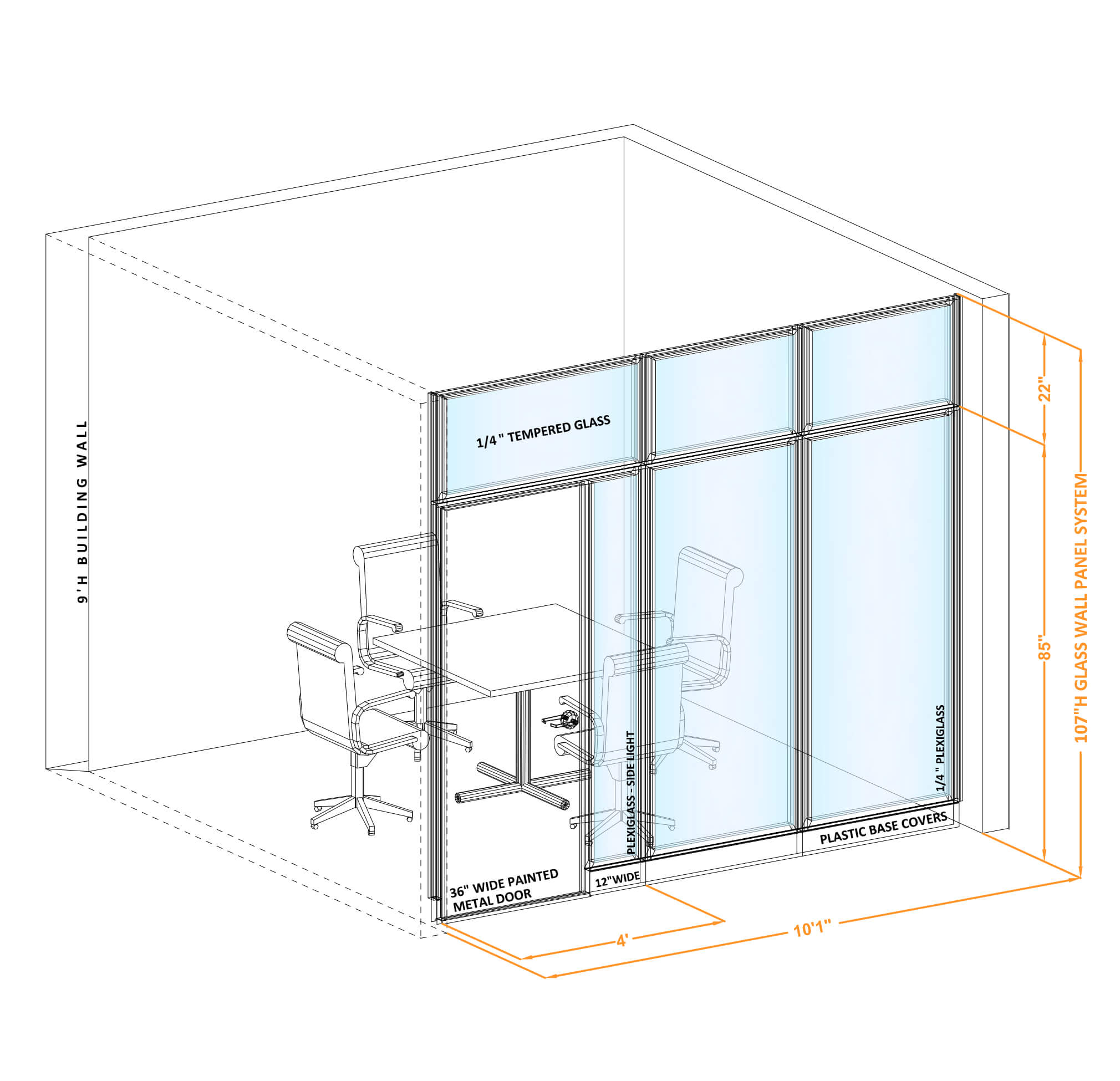 Modular glass office walls GWCR I 100x1070