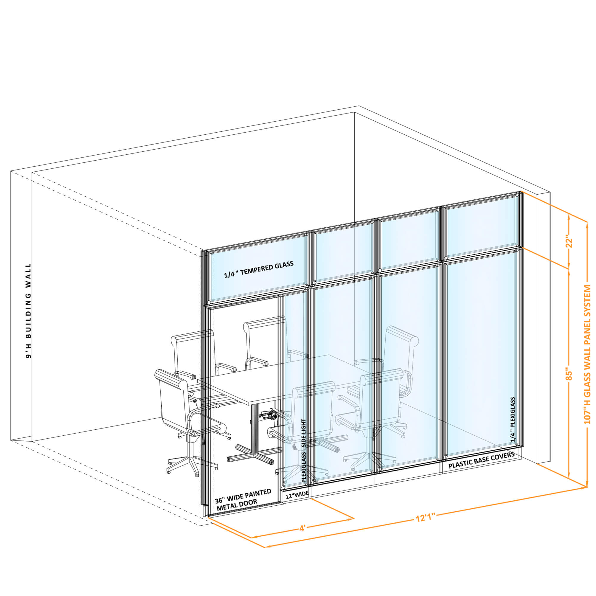Modular glass office walls GWCR I 120x1070