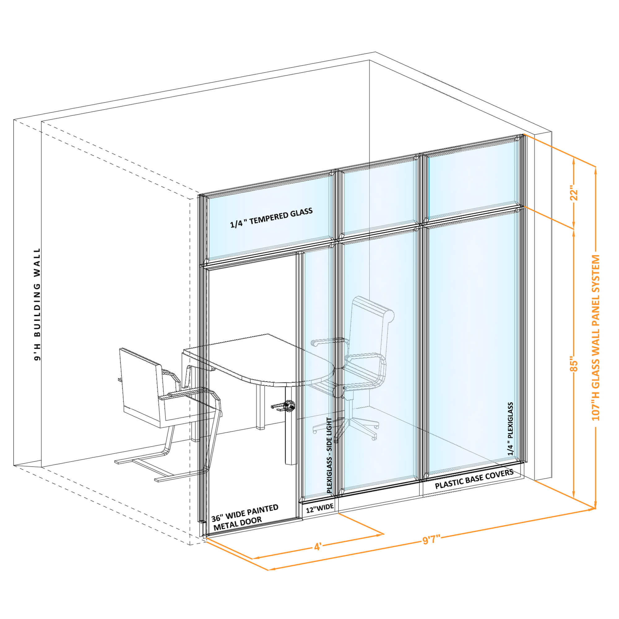 Modular glass office walls GWCR I 96x1070