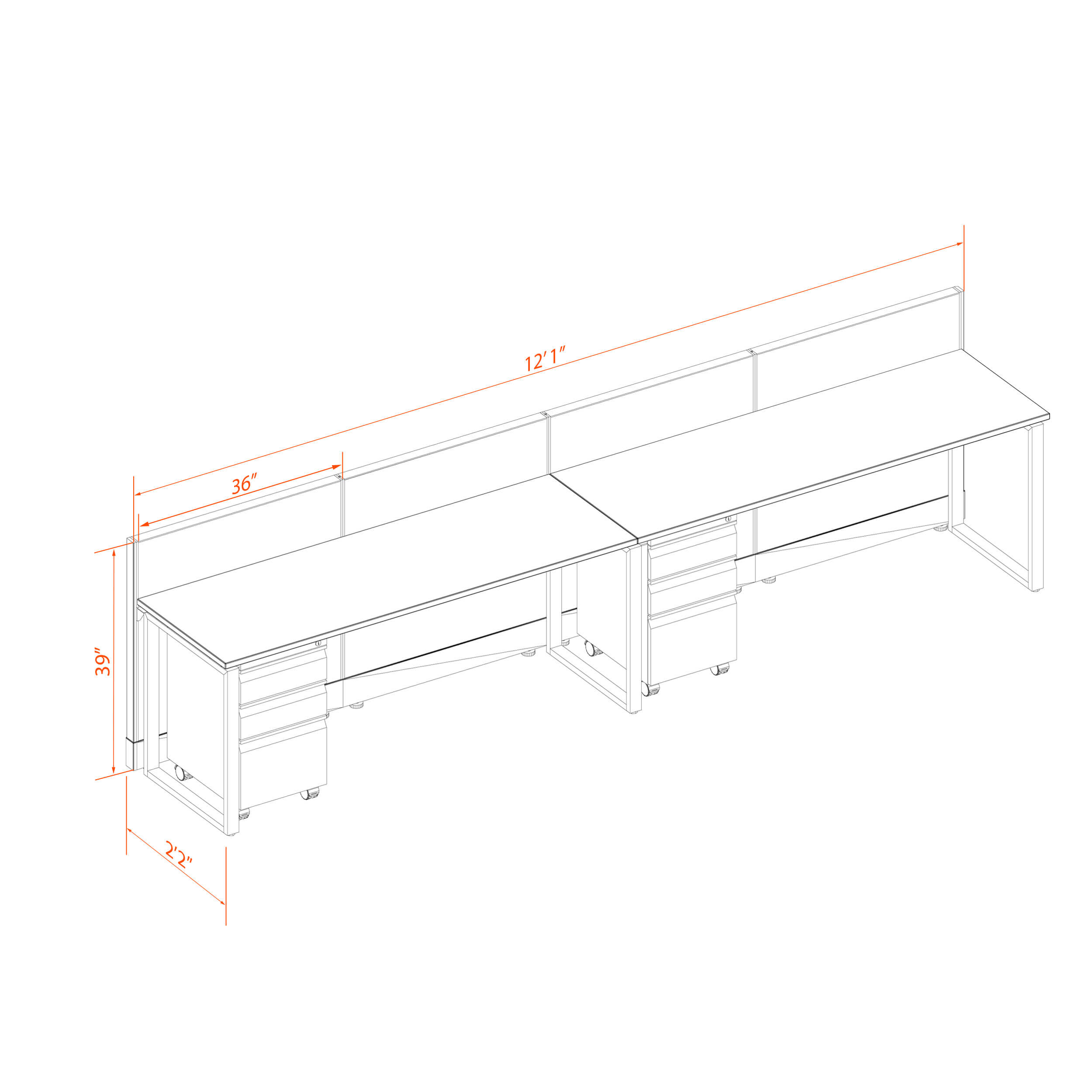 Office benching systems 2p 6239