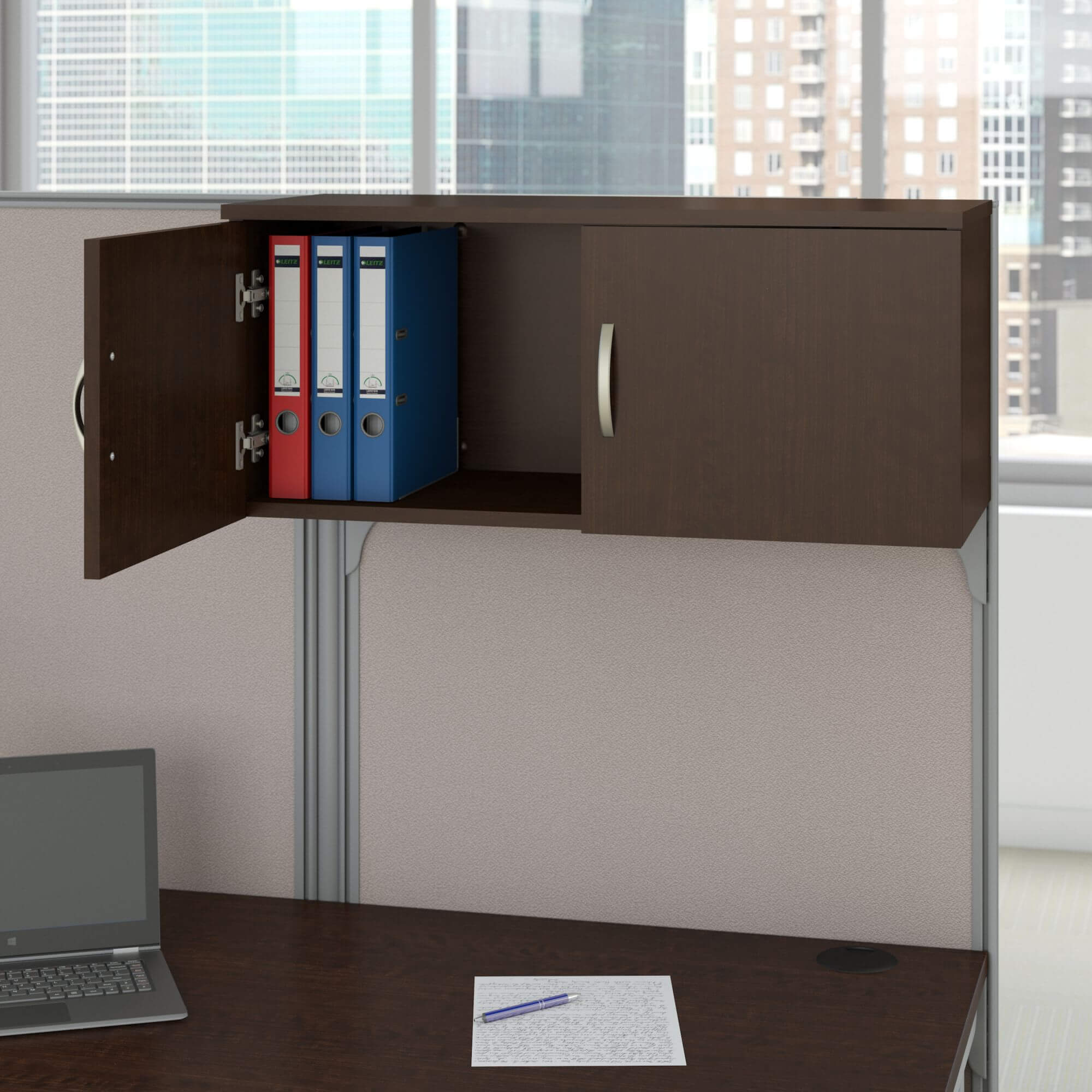 Office cubical storage overhead storage